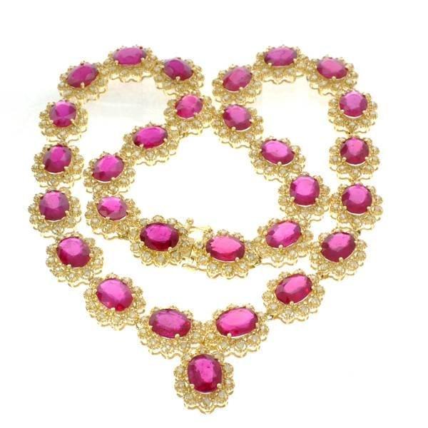 APP: 38k *14kt Gold, 79CT Oval Ruby & Diamond Necklace