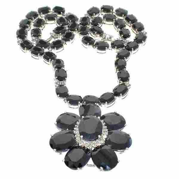 APP: 31k *14kt White Gold, Sapphire & Diamond Necklace
