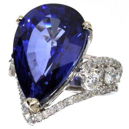 APP: 14k *14 kt White Gold 27CT Sapphire & Diamond Ring