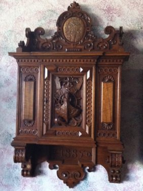 Hand Carved Walnut Wall Medicine Cabinet - 1885