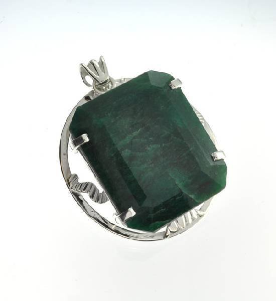 APP: 16k 203.49CT Emerald & Sterling Silver Pendant