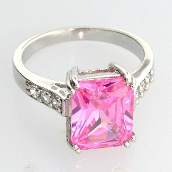 Platinum Sterl Silver French Pink Cubic Zirconium Ring