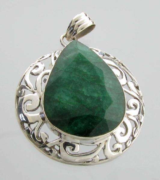 APP: 4k Sebastian 48CT Pear Emerald & Silver Pendant