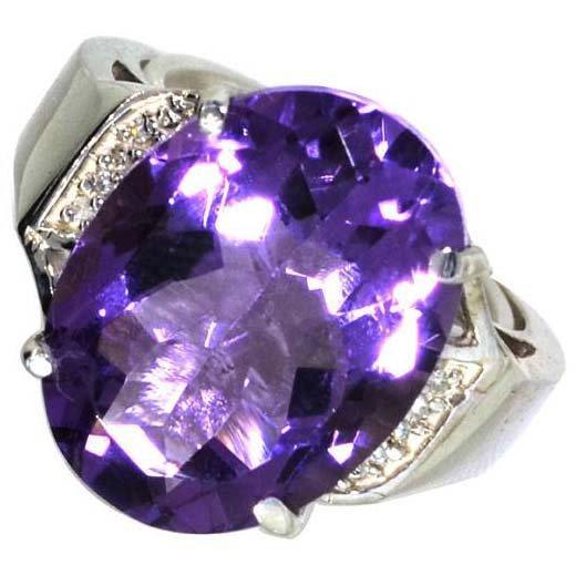 APP: 3k 8CT  Oval Cut Amethyst & Diamond Silver Ring