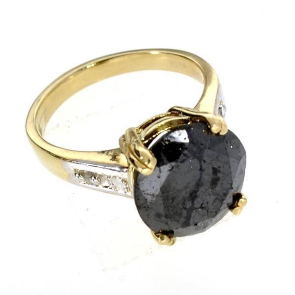 APP: 23k 14kt Yellow & White Gold, Black Diamond Ring