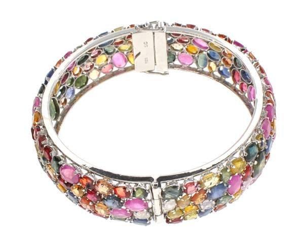 APP: 27k 79CT Multi-Color Sapphire & Silver Bracelet