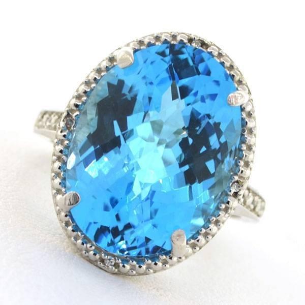 APP: 3k 15CT  Topaz & Diamond Sterl Silver Ring