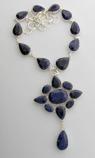 APP: 14k 210CT  Sapphire & Sterling Silver Necklace