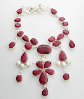 APP: 17k 236.66CT Ruby & Pearl Sterling Silver Necklace