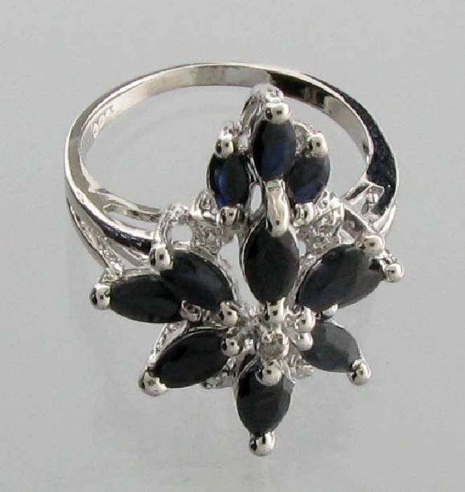 APP: 2k 4CT  Marquise Cut Sapphire & Sterl Silver Ring