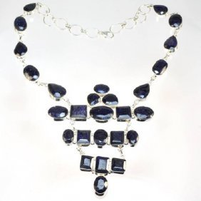 APP: 8k 237CT  Mixed Cut Sapphire & Silver Necklace
