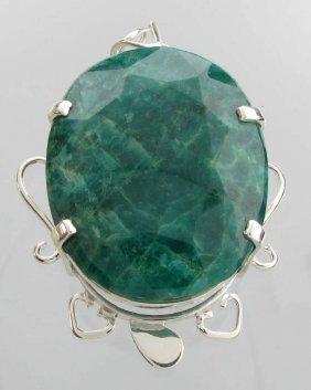 APP: 16k 267CT  Oval Cut Emerald & Sterl Silver Pendant