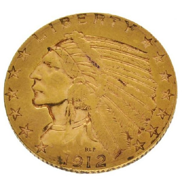1912-S $5 Indian Head Gold Coin - Investment