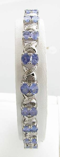 APP: 5k 6CT  Tanzanite & Diamond Sterl Silver Bracelet