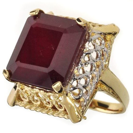 APP: 15.6k 14 kt Gold 16.55CT Emerald Cut Ruby Ring