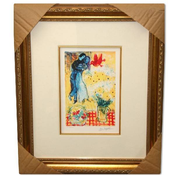 Marc Chagall 'Lovers & Daisies' Museum Framed Giclee-Lt