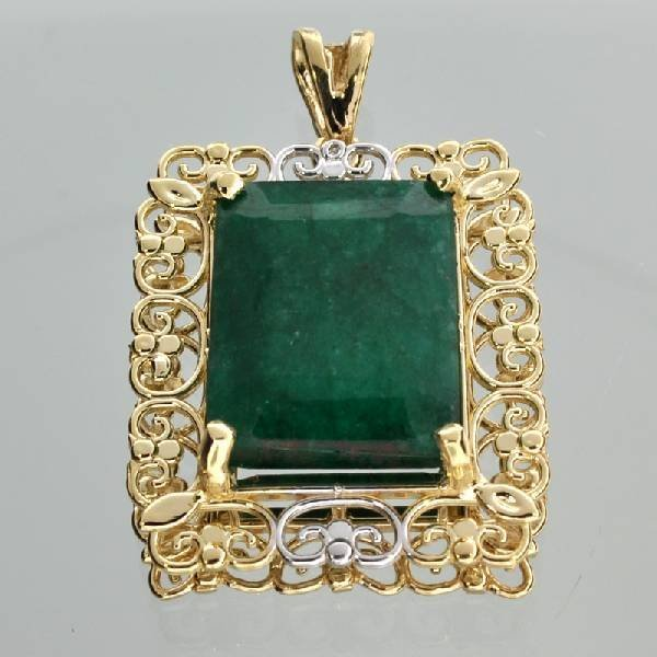 APP: 13k 14kt White & Yellow Gold 17CT Emerald Pendant