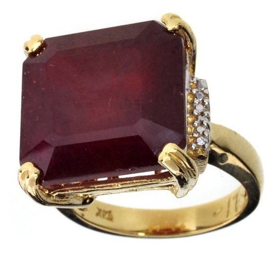 APP: 20.2k 14 kt Gold 17.42CT Square Cut Ruby Ring