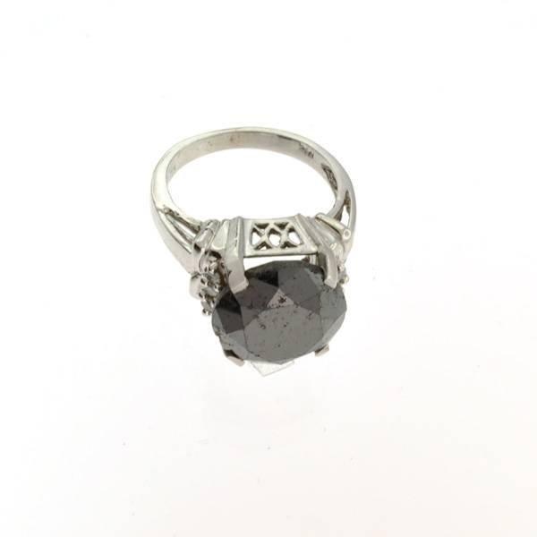 APP: 13k 14kt White Gold, 6.70CT Rare BlackDiamond Ring