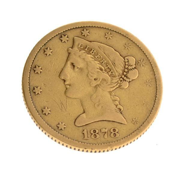 1878 $5.0 US Liberty Head Type Gold Coin - Investment