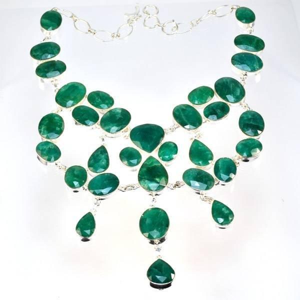 APP: 14k 322CT  Mixed Cut Grn Beryl & Silver Necklace
