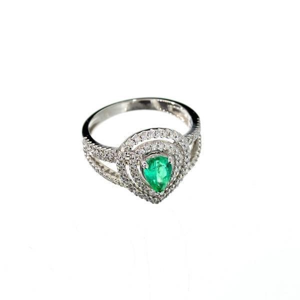 APP: 5k 14kt White Gold, Pear Emerald & Diamond Ring