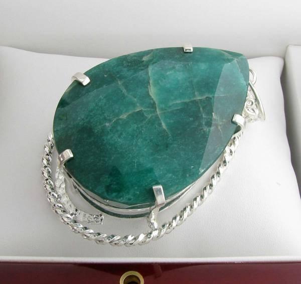 APP: 17k Sebastian 519CT Pear Emerald & Silver Pendant
