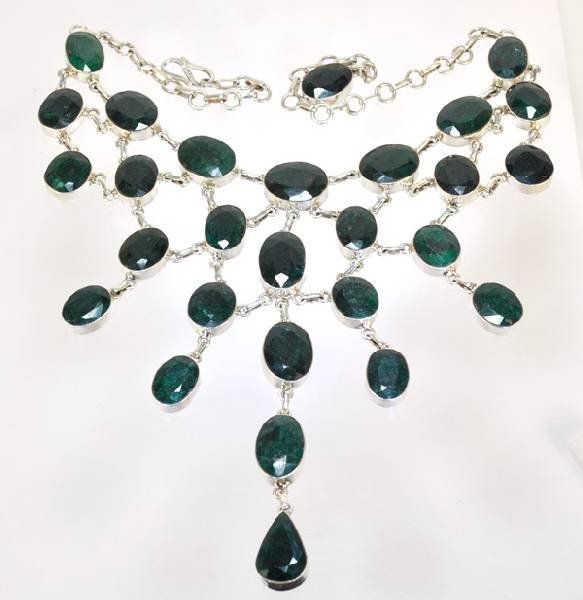 APP: 166.4k 200.28CT Emerald & Sterling Silver Necklace