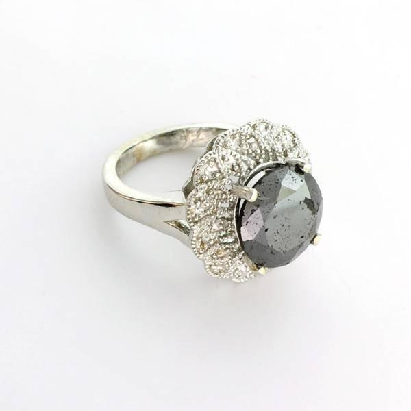 APP: 12k 14kt White Gold, 5.76CT Rare BlackDiamond Ring
