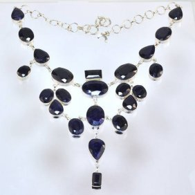 APP: 21k 331CT  Mixed Cut Sapphire & Silver Necklace
