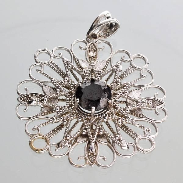 APP: 7k 14kt White Gold 3CT Round Black Diamond Pendant