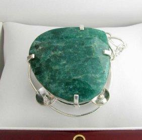 APP: 14k Sebastian 357CT Pear Emerald & Silver Pendant