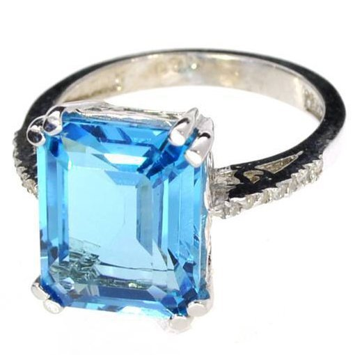 APP: 1k 6CT  Topaz & Diamond Platinum Over Silver Ring