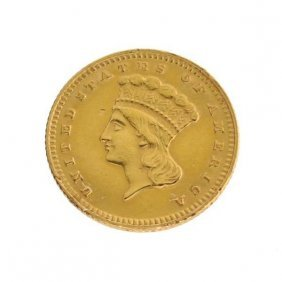 1874 $1 US Indian Head Type Gold Coin - Investment