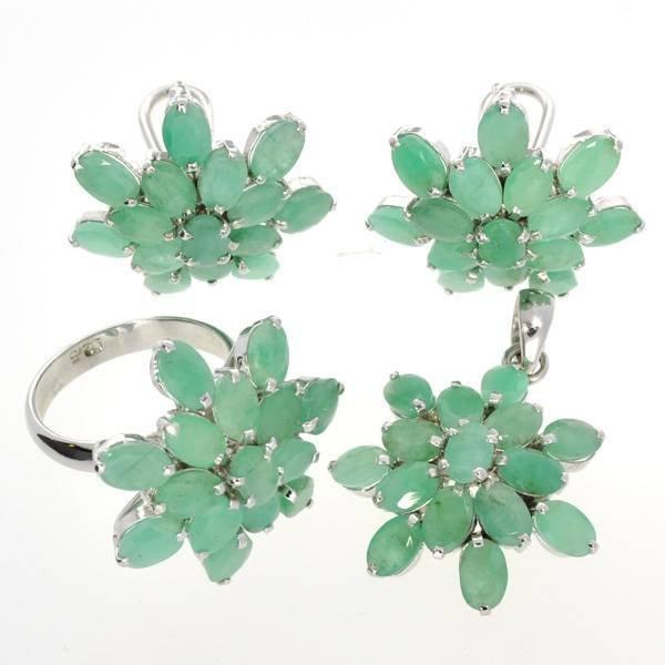 APP: 26k 23CT Emerald & Ring, Pendant, & Earrings Set
