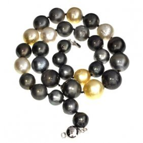APP: 17k Tahitian Cultured Pearls Silver Clasp Necklace