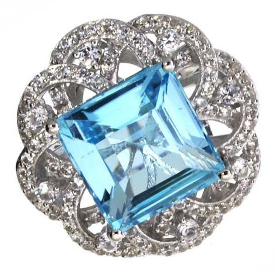 APP: 6k 20CT  Topaz & Sapphire Sterl Silver Ring