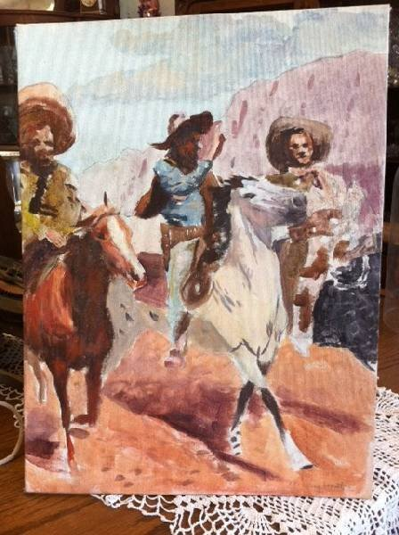Olaf Wieghorst - 3 Cowboys Painting - Signed