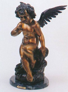 Reissue Patinated Bronze Sculpture ''Angel with Wings''