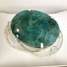 APP: 27k 444CT  Oval Cut Emerald & Sterl Silver Pendant