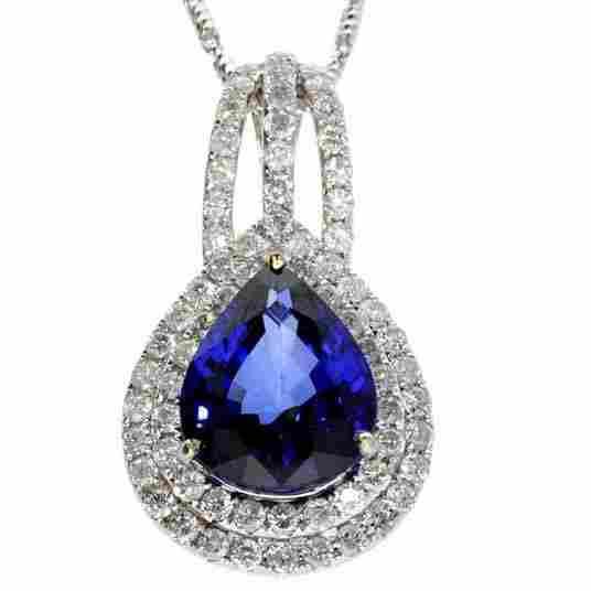 APP: 9k *14kt White Gold Sapphire & Diamond Necklace