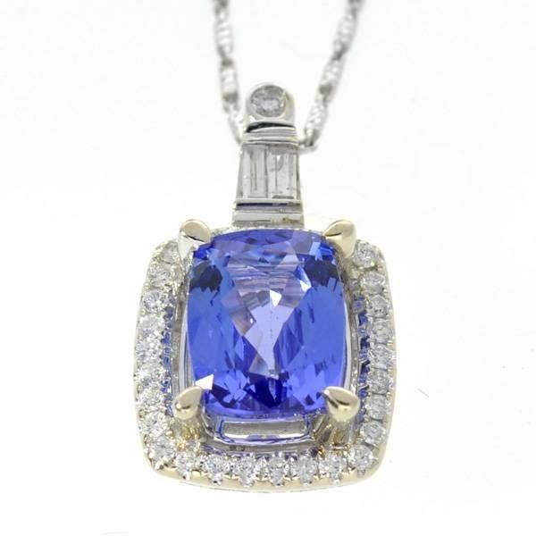 APP: 13k *14kt White Gold Tanzanite & Diamond Necklace