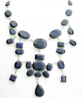APP: 42k 667CT  Mixed Cut Sapphire & Silver Necklace
