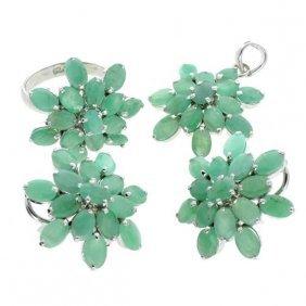 APP: 26k Emerald & Silver Ring, Pendant, & Earrings Set