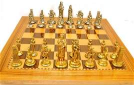 Antique 1950s Brass Gold  Silver Plated Chess Set