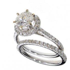 APP: 23k *18kt White Gold, 2CT Round Diamond Set Rings