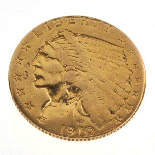 1910 $2.5 US Indian Head Type Gold Coin - Investment