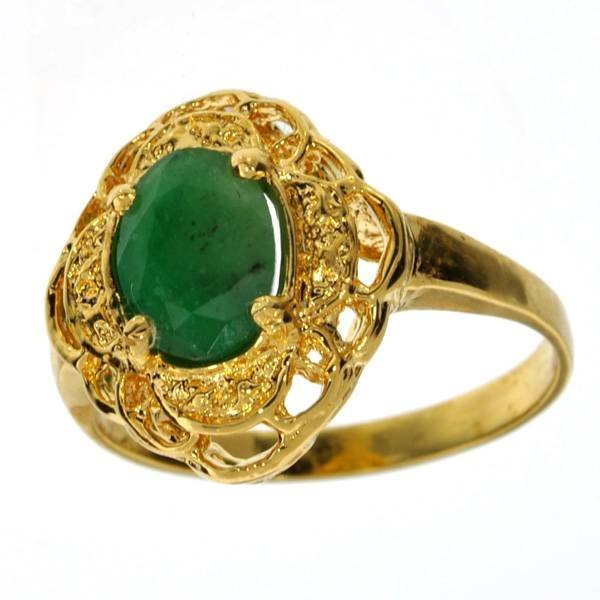 APP: 3k 1CT Emerald & 14kt. Yellow Gold Silver Ring