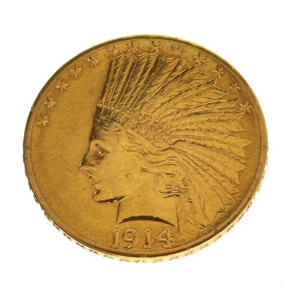 *1914-D $10 Indian Head Gold Coin - Investment