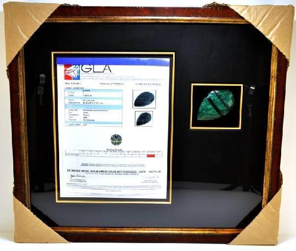 APP: 60k 1124CT Museum Framed Pear Cut Emerald Gemstone